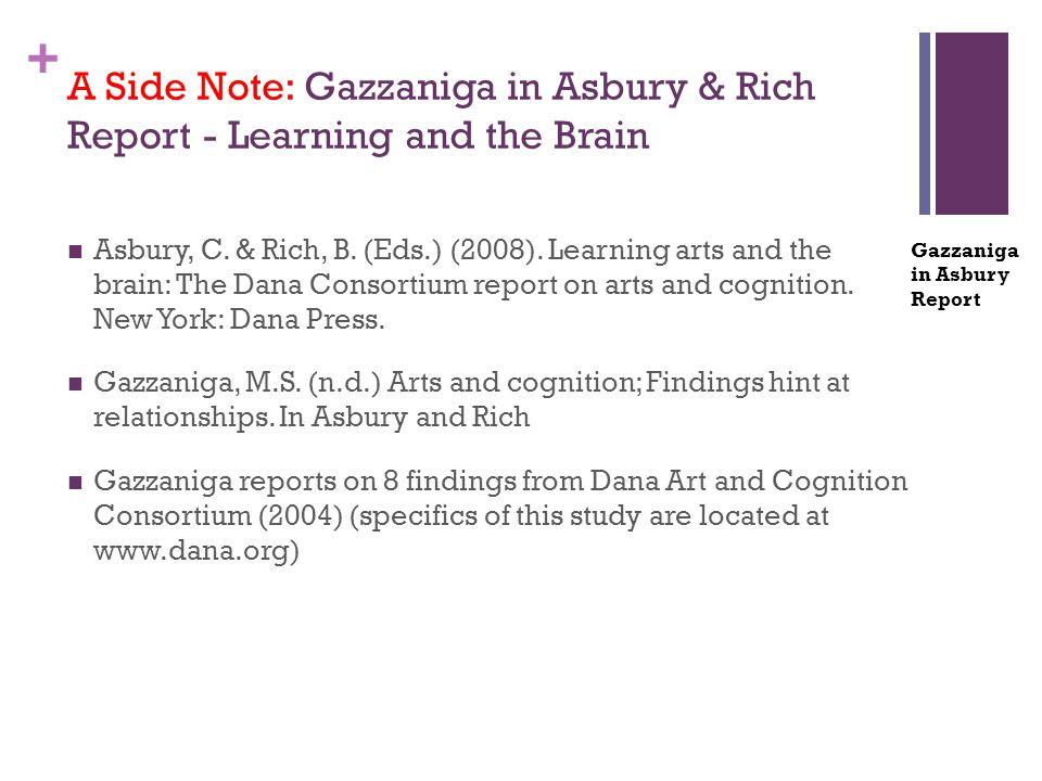 + Asbury, C. & Rich, B. (Eds.) (2008). Learning arts and the brain: The Dana Consortium report on arts and cognition. New York: Dana Press. Gazzaniga,