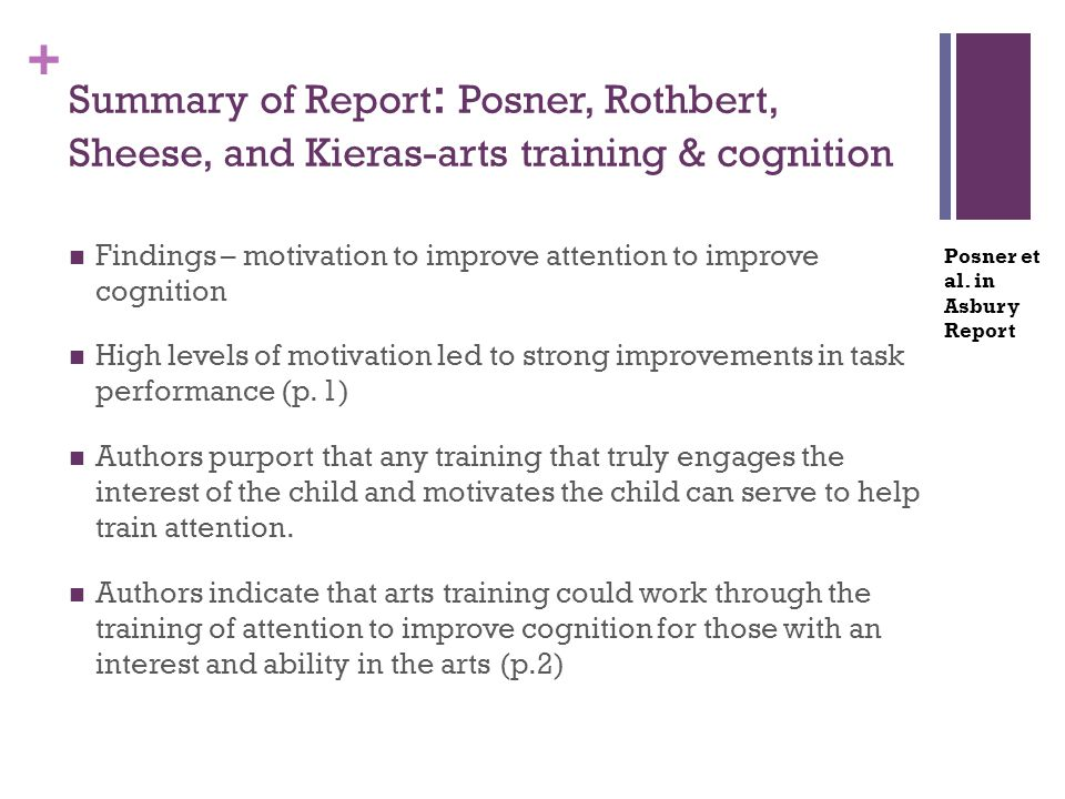 + Summary of Report : Posner, Rothbert, Sheese, and Kieras-arts training & cognition Findings – motivation to improve attention to improve cognition H