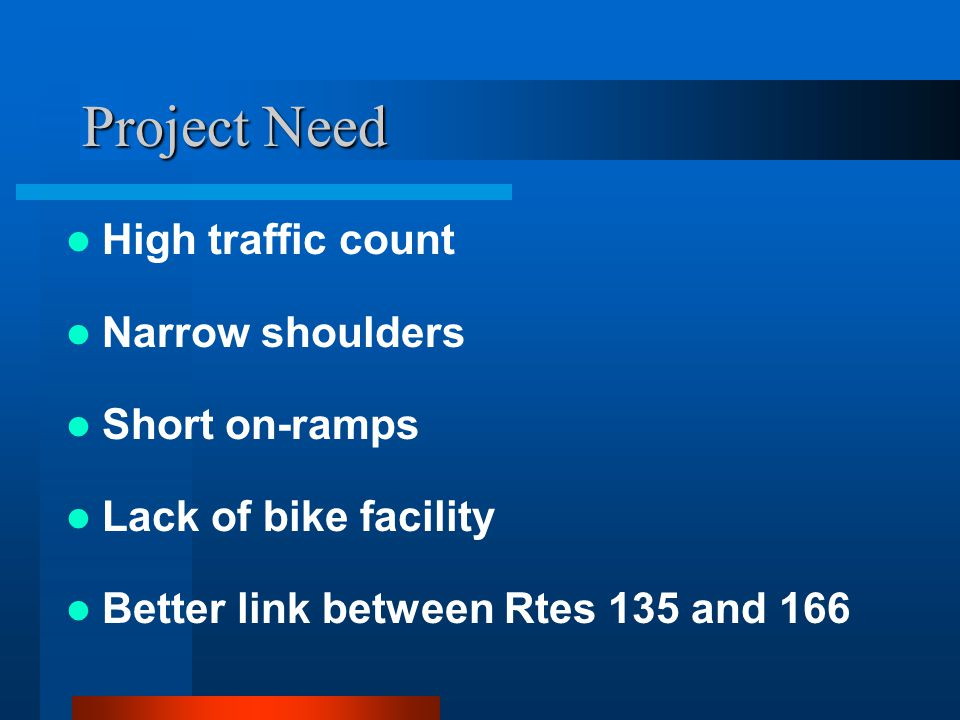 Project Need High traffic count Narrow shoulders Short on-ramps Lack of bike facility Better link between Rtes 135 and 166