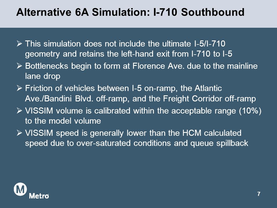 Alternative 6A Simulation: I-710 Southbound  This simulation does not include the ultimate I-5/I-710 geometry and retains the left-hand exit from I-710 to I-5  Bottlenecks begin to form at Florence Ave.