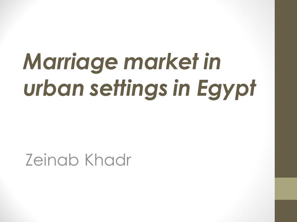 Marriage market in urban settings in Egypt Zeinab Khadr