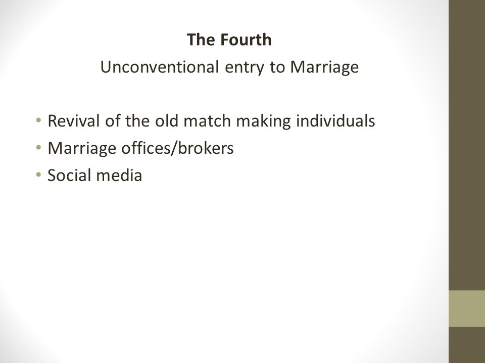The Fourth Unconventional entry to Marriage Revival of the old match making individuals Marriage offices/brokers Social media