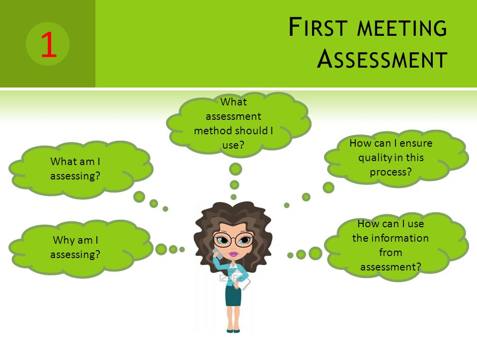F IRST MEETING A SSESSMENT How can I ensure quality in this process? How can I use the information from assessment? What assessment method should I us