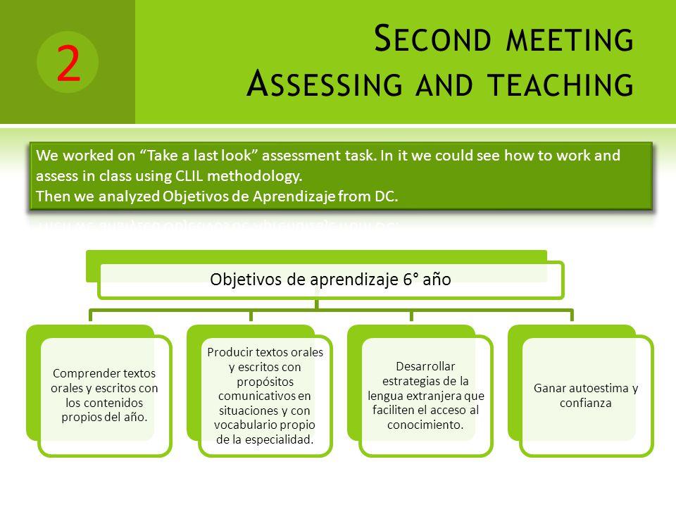 2 S ECOND MEETING A SSESSING AND TEACHING Objetivos de aprendizaje 6° año Comprender textos orales y escritos con los contenidos propios del año.
