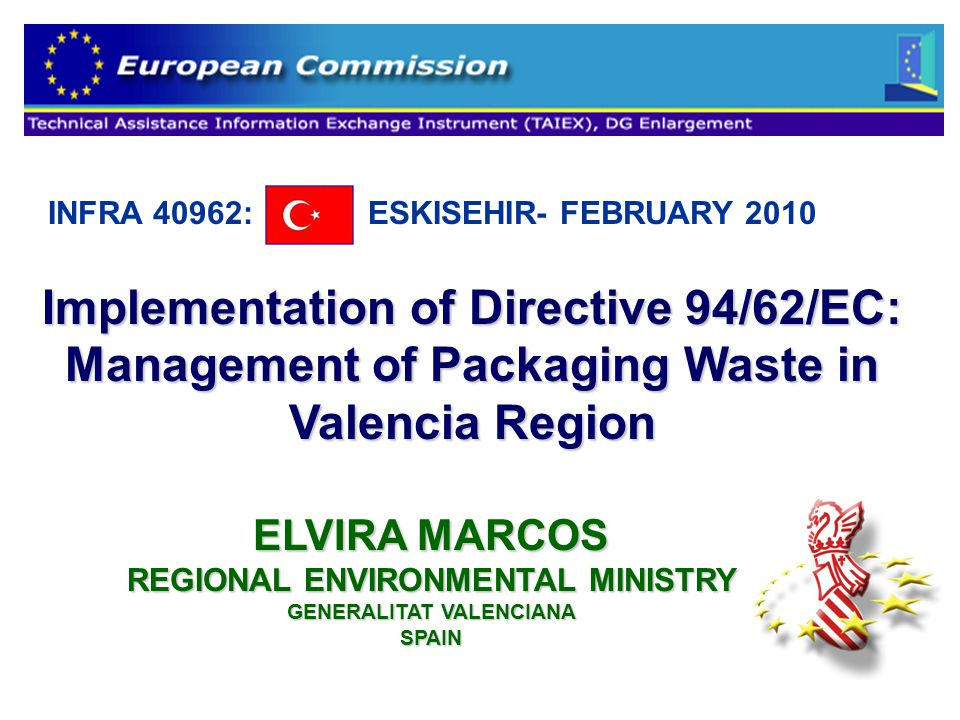Implementation of Directive 94/62/EC: Management of Packaging Waste in Valencia Region INFRA 40962: ESKISEHIR- FEBRUARY 2010 ELVIRA MARCOS REGIONAL ENVIRONMENTAL MINISTRY GENERALITAT VALENCIANA SPAIN