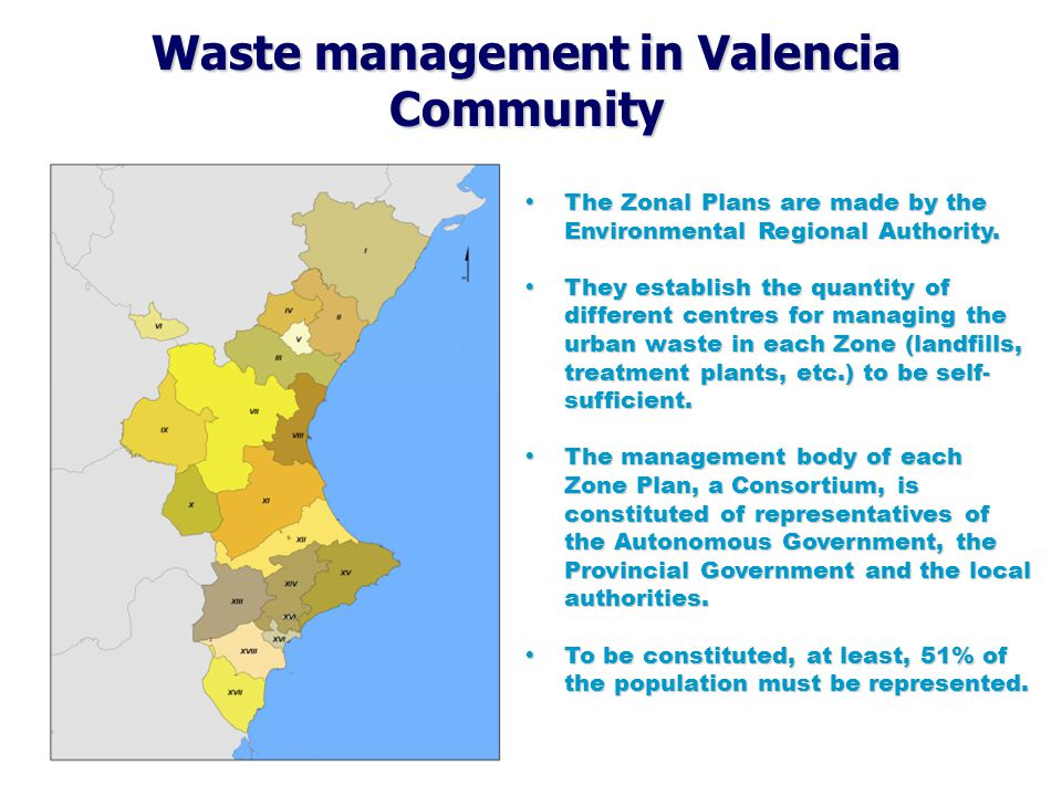 Waste management in Valencia Community  The Integrated Waste Plan (IWP) is the main instrument for managing and co- ordinating all the tasks relating to waste in the Valencian Region, & to reach the targets established by the Law 10/2000 of waste.