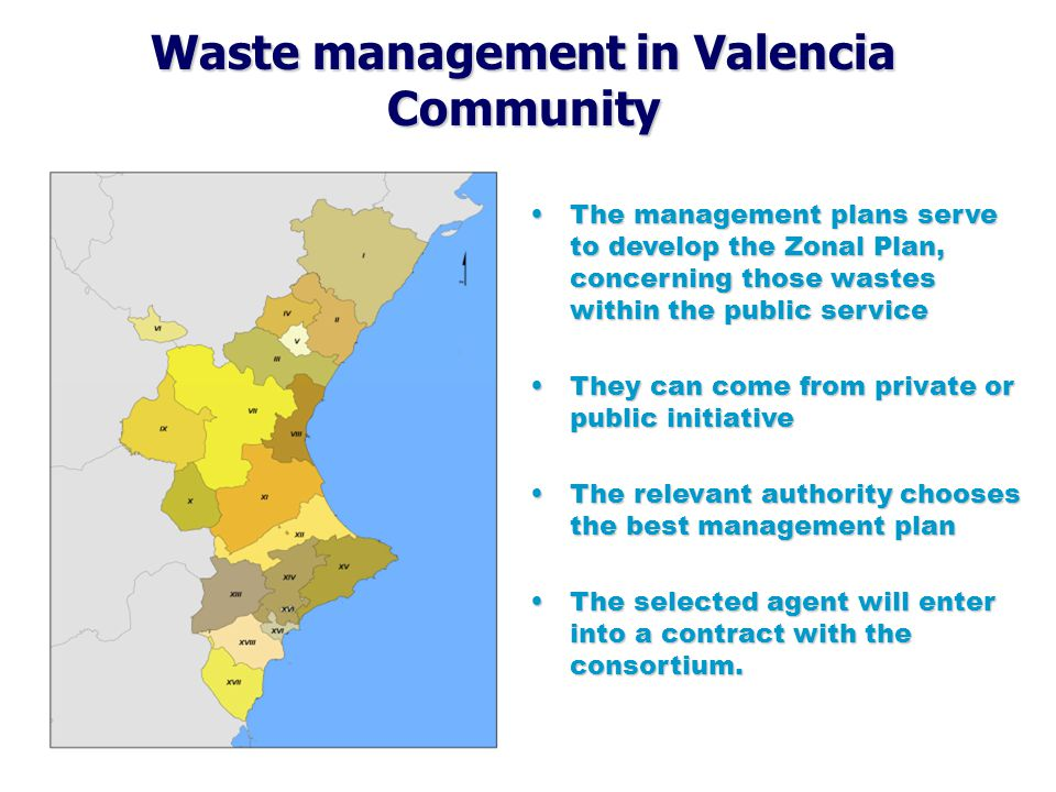 Waste management in Valencia Community  The Zonal Plans are made by the Environmental Regional Authority.