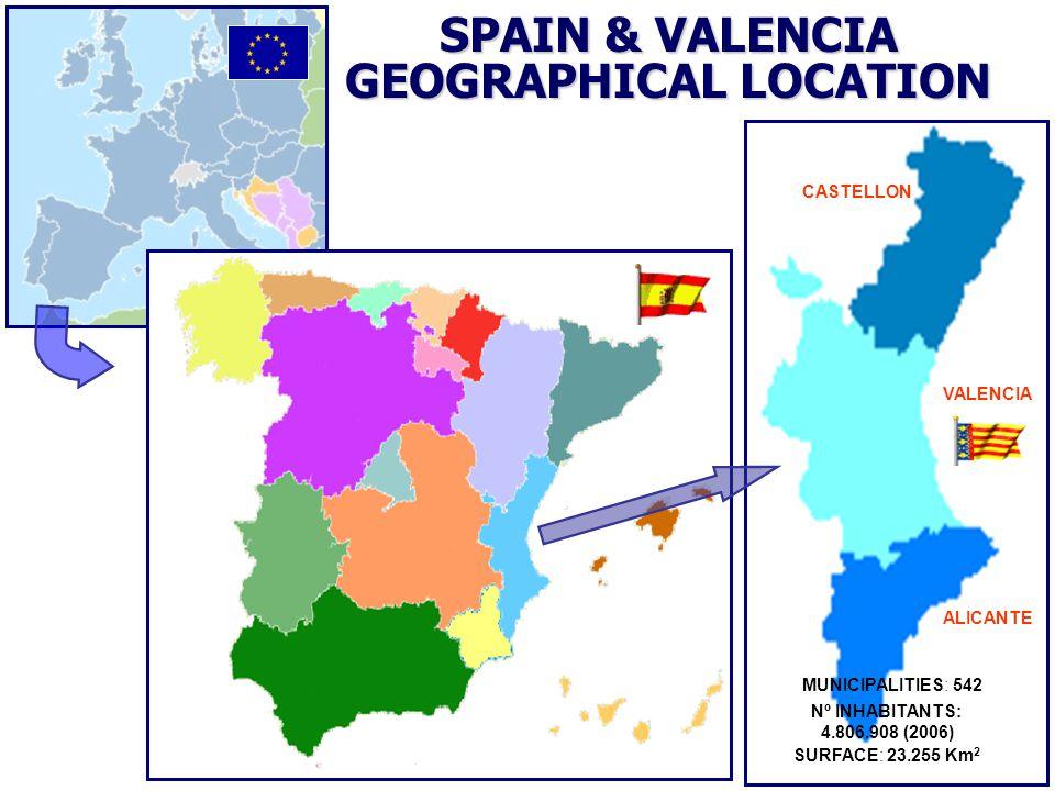 CASTELLON VALENCIA ALICANTE SPAIN & VALENCIA GEOGRAPHICAL LOCATION SURFACE: 23.255 Km 2 Nº INHABITANTS: 4.806.908 (2006) MUNICIPALITIES: 542