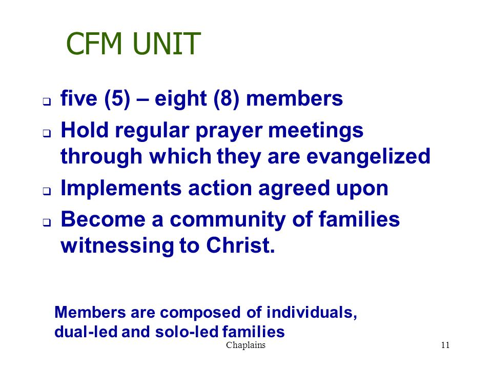 CFM UNIT  five (5) – eight (8) members  Hold regular prayer meetings through which they are evangelized  Implements action agreed upon  Become a c