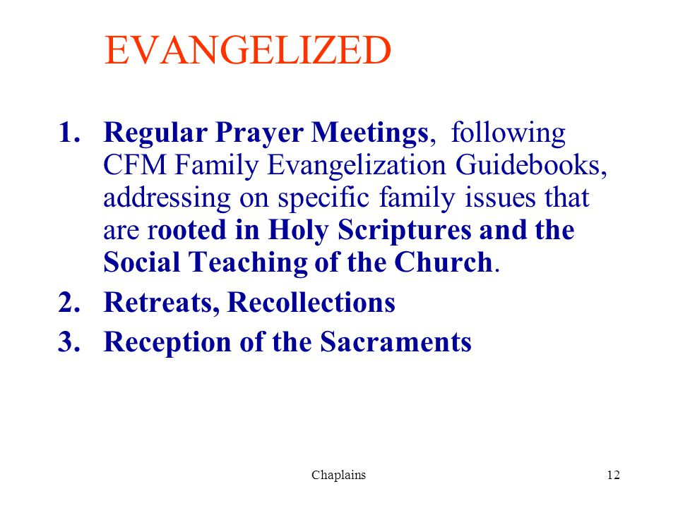 12 EVANGELIZED 1.Regular Prayer Meetings, following CFM Family Evangelization Guidebooks, addressing on specific family issues that are rooted in Holy