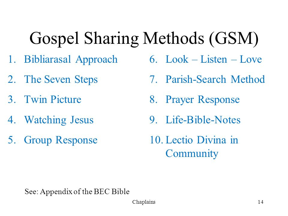 Gospel Sharing Methods (GSM) 1.Bibliarasal Approach 2.The Seven Steps 3.Twin Picture 4.Watching Jesus 5.Group Response 6.Look – Listen – Love 7.Parish