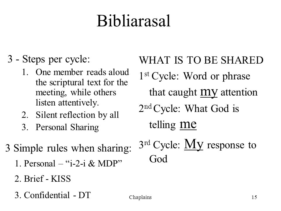 Bibliarasal 3 - Steps per cycle: 1.One member reads aloud the scriptural text for the meeting, while others listen attentively. 2.Silent reflection by