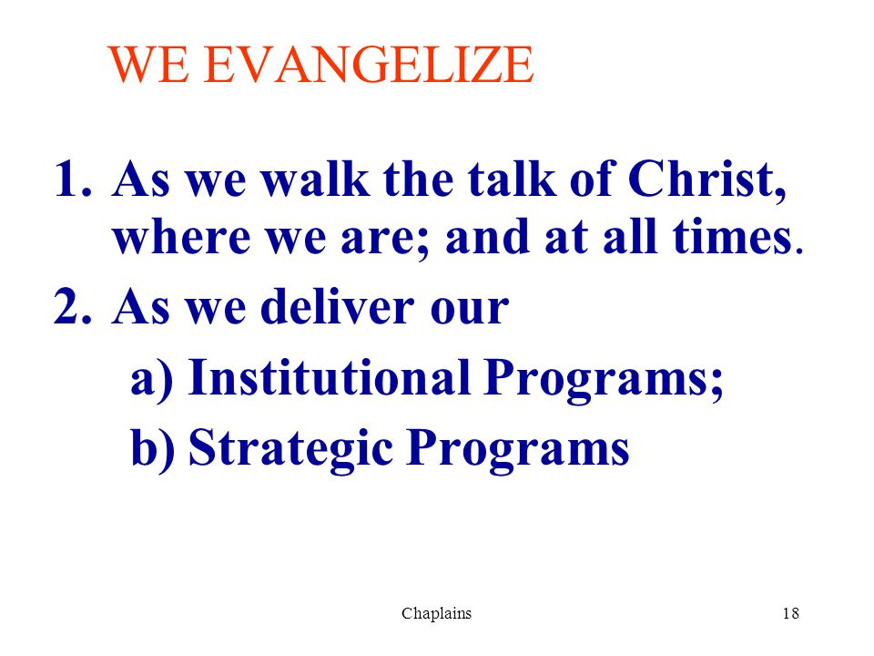 18 WE EVANGELIZE 1.As we walk the talk of Christ, where we are; and at all times. 2.As we deliver our a)Institutional Programs; b)Strategic Programs C