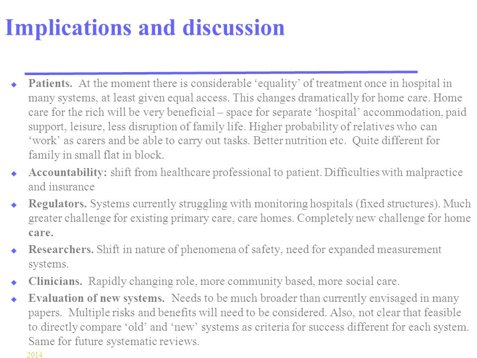 Implications and discussion u Patients.