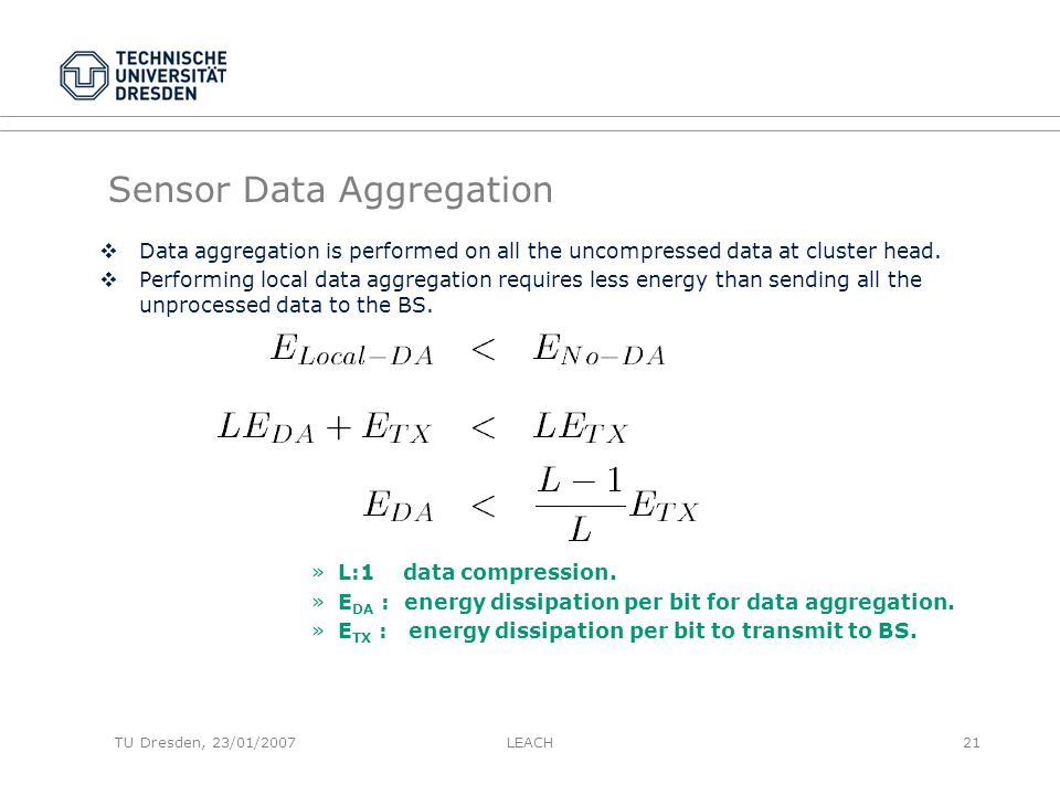 Sensor Data Aggregation  Data aggregation is performed on all the uncompressed data at cluster head.  Performing local data aggregation requires les