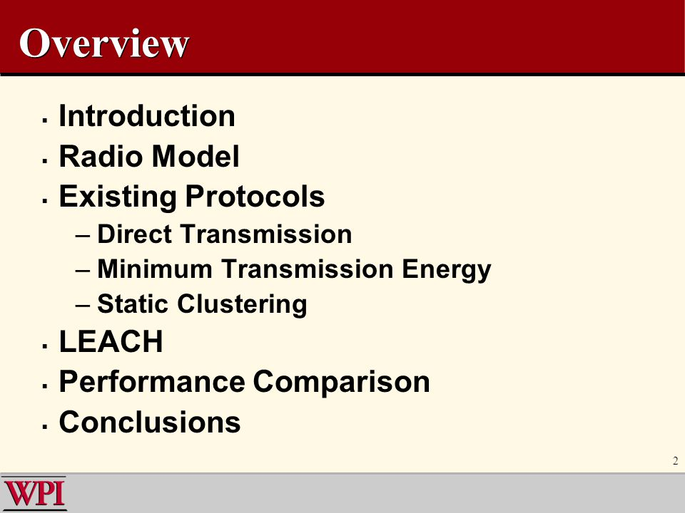 23 Performance: Energy and Diameter MTE vs.Direct Transmission LEACH vs.