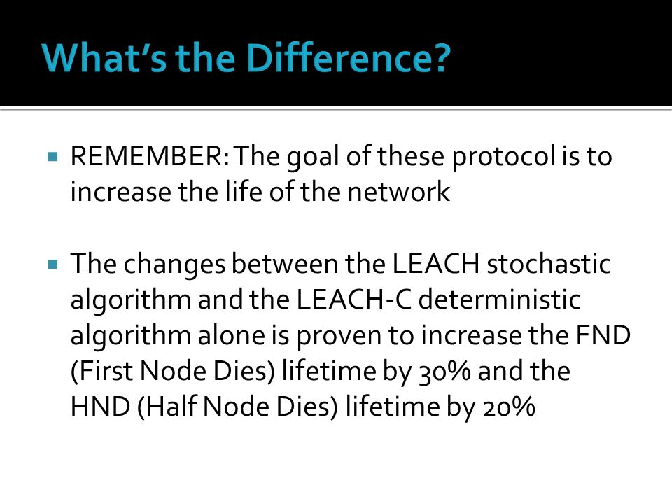  REMEMBER: The goal of these protocol is to increase the life of the network  The changes between the LEACH stochastic algorithm and the LEACH-C deterministic algorithm alone is proven to increase the FND (First Node Dies) lifetime by 30% and the HND (Half Node Dies) lifetime by 20%