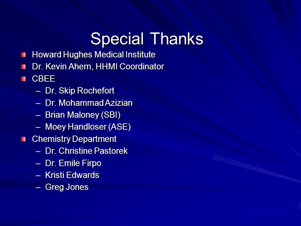 Howard Hughes Medical Institute Dr. Kevin Ahern, HHMI Coordinator CBEE –Dr. Skip Rochefort –Dr. Mohammad Azizian –Brian Maloney (SBI) –Moey Handloser
