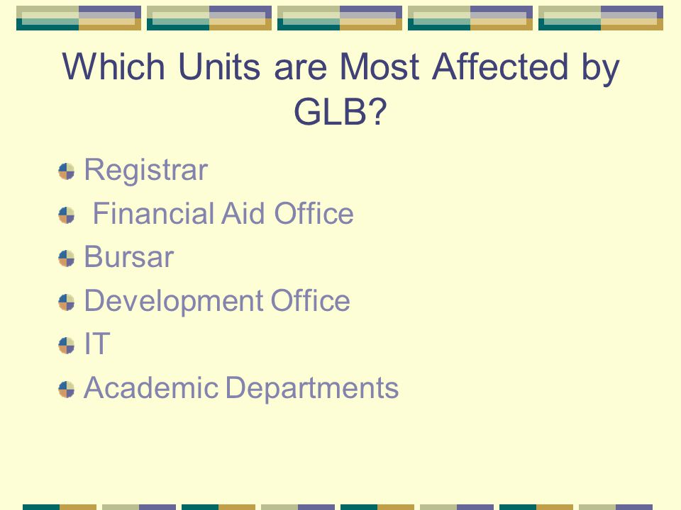 Which Units are Most Affected by GLB.