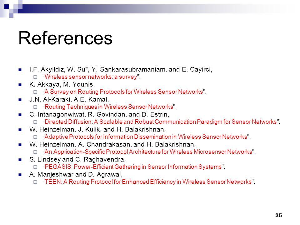 35 References I.F. Akyildiz, W. Su*, Y. Sankarasubramaniam, and E. Cayirci, 