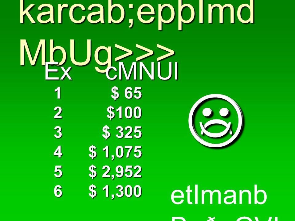  karcab;epþImd MbUg>>> ExcMNUl ExcMNUl $ 65 $100 $ 325 $ 1,075 $ 2,952 $ 1,300 etImanb BaðaGVI .