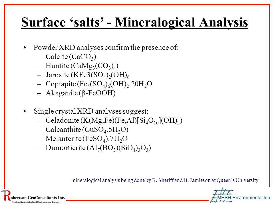 Surface 'salts' - Mineralogical Analysis Powder XRD analyses confirm the presence of: –Calcite (CaCO 3 ) –Huntite (CaMg 3 (CO 3 ) 4 ) –Jarosite (KFe3(SO 4 ) 2 (OH) 6 –Copiapite (Fe 5 (SO 4 ) 6 (OH) 2.20H 2 O –Akaganite (  -FeOOH) Single crystal XRD analyses suggest: –Celadonite (K(Mg,Fe)(Fe,Al)[Si 4 O 10 ](OH) 2 ) –Calcanthite (CuSO 4.5H 2 O) –Melanterite (FeSO 4 ).7H 2 O –Dumortierite (Al 7 (BO 3 )(SiO 4 ) 3 O 3 ) mineralogical analysis being done by B.