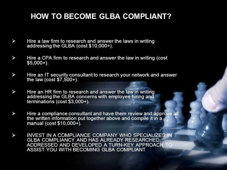 HOW TO BECOME GLBA COMPLIANT.
