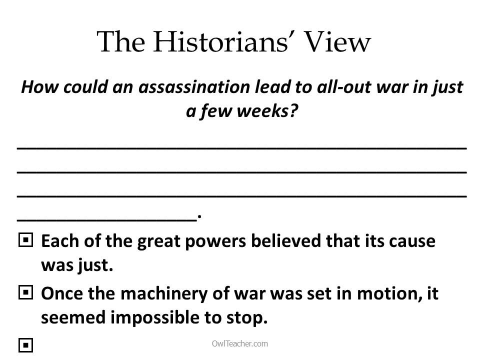 The Historians' View How could an assassination lead to all-out war in just a few weeks.