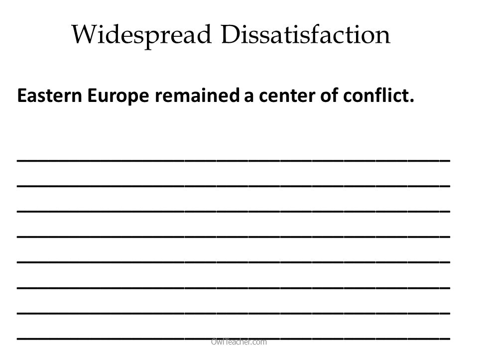 Widespread Dissatisfaction Eastern Europe remained a center of conflict.