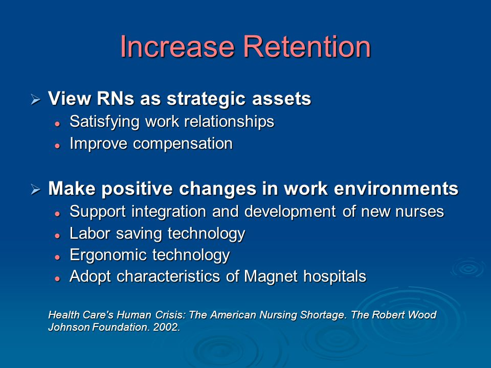 Increase Retention  View RNs as strategic assets Satisfying work relationships Satisfying work relationships Improve compensation Improve compensation  Make positive changes in work environments Support integration and development of new nurses Support integration and development of new nurses Labor saving technology Labor saving technology Ergonomic technology Ergonomic technology Adopt characteristics of Magnet hospitals Adopt characteristics of Magnet hospitals Health Care s Human Crisis: The American Nursing Shortage.