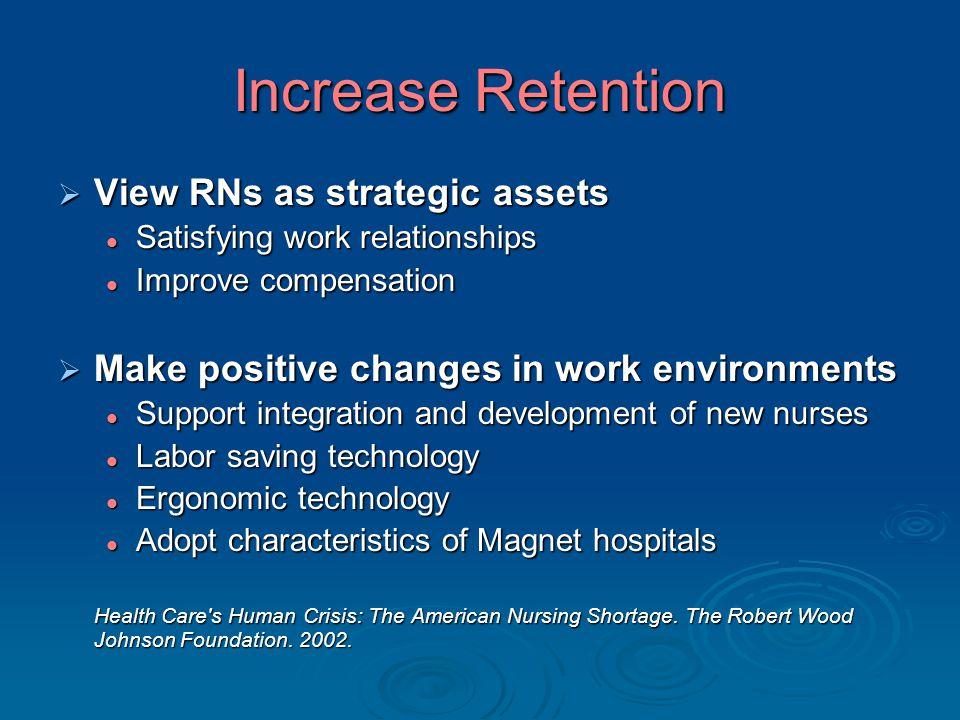 Increase Retention  View RNs as strategic assets Satisfying work relationships Satisfying work relationships Improve compensation Improve compensatio