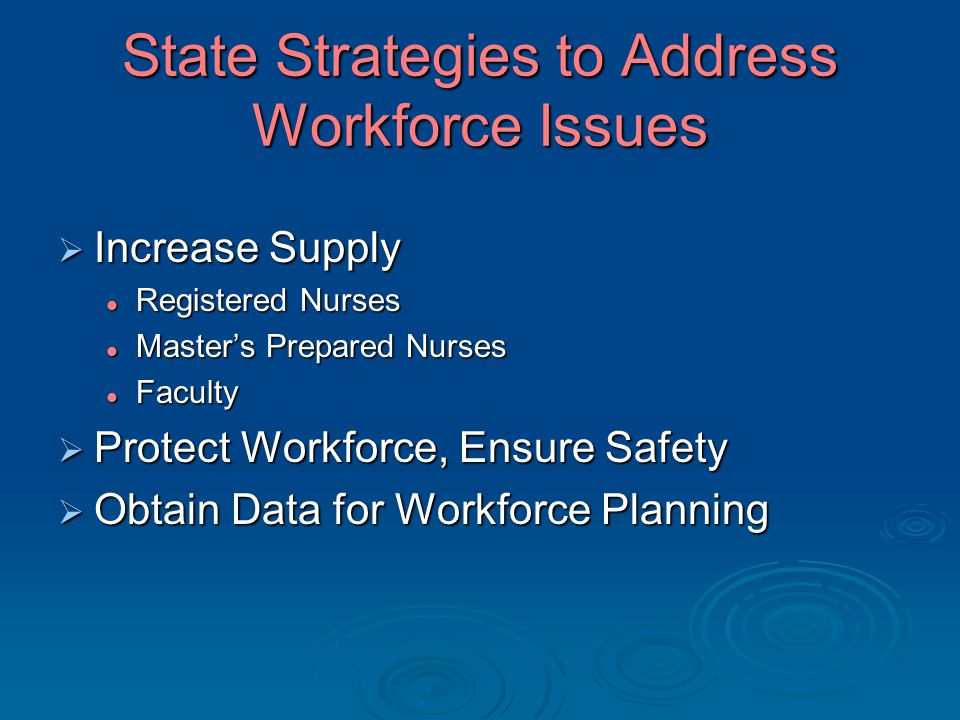 State Strategies to Address Workforce Issues  Increase Supply Registered Nurses Registered Nurses Master's Prepared Nurses Master's Prepared Nurses F
