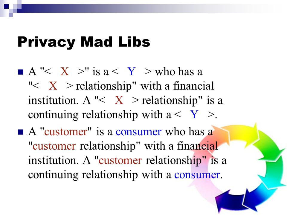 Privacy Mad Libs A is a who has a relationship with a financial institution.