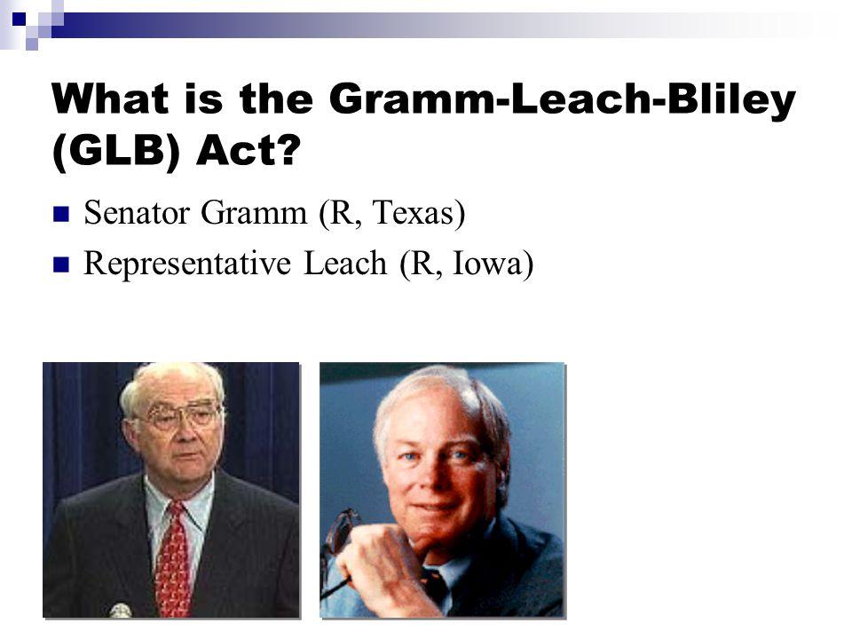 What is the Gramm-Leach-Bliley (GLB) Act Senator Gramm (R, Texas) Representative Leach (R, Iowa)