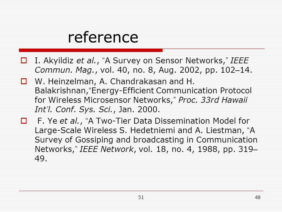 5148 reference  I. Akyildiz et al., A Survey on Sensor Networks, IEEE Commun.