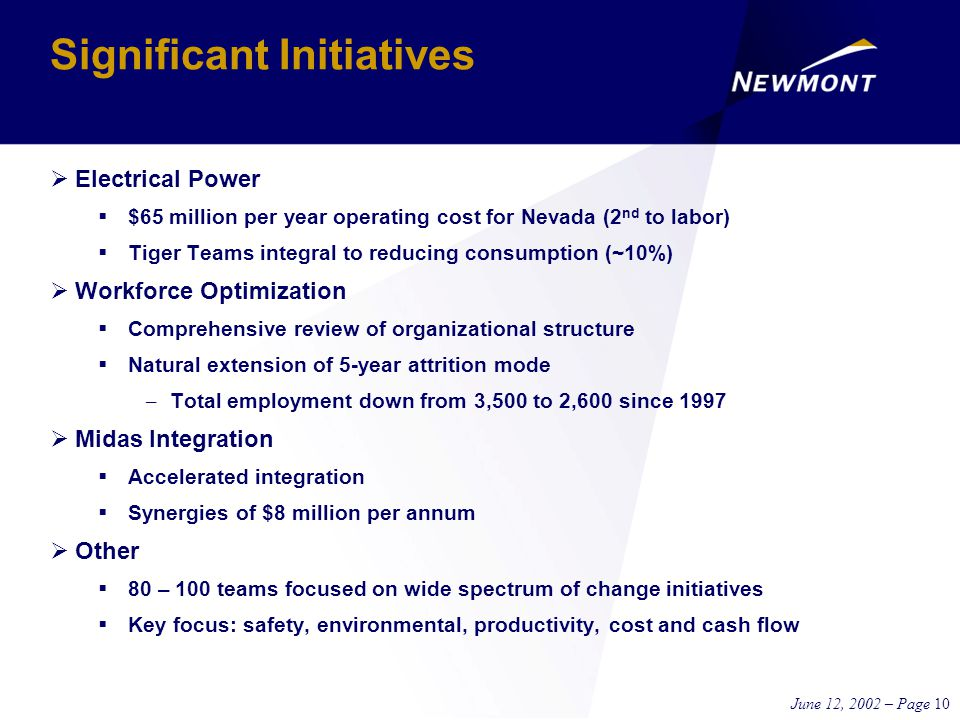 June 12, 2002 – Page 10 Significant Initiatives  Electrical Power  $65 million per year operating cost for Nevada (2 nd to labor)  Tiger Teams integral to reducing consumption (~10%)  Workforce Optimization  Comprehensive review of organizational structure  Natural extension of 5-year attrition mode – Total employment down from 3,500 to 2,600 since 1997  Midas Integration  Accelerated integration  Synergies of $8 million per annum  Other  80 – 100 teams focused on wide spectrum of change initiatives  Key focus: safety, environmental, productivity, cost and cash flow