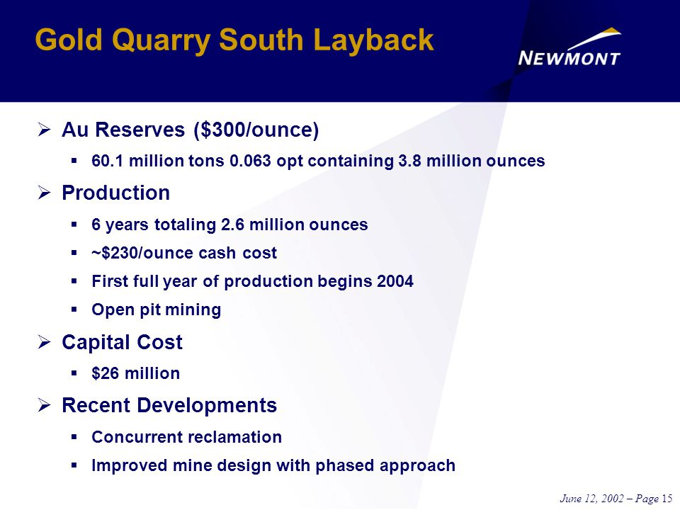 June 12, 2002 – Page 15 Gold Quarry South Layback  Au Reserves ($300/ounce)  60.1 million tons 0.063 opt containing 3.8 million ounces  Production  6 years totaling 2.6 million ounces  ~$230/ounce cash cost  First full year of production begins 2004  Open pit mining  Capital Cost  $26 million  Recent Developments  Concurrent reclamation  Improved mine design with phased approach