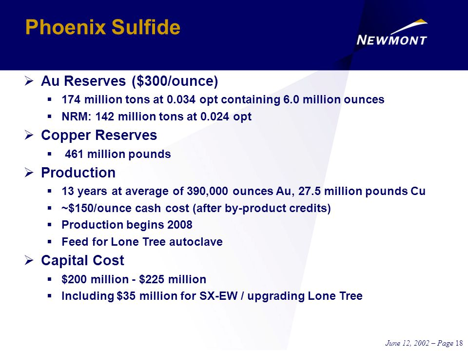 June 12, 2002 – Page 18 Phoenix Sulfide  Au Reserves ($300/ounce)  174 million tons at 0.034 opt containing 6.0 million ounces  NRM: 142 million tons at 0.024 opt  Copper Reserves  461 million pounds  Production  13 years at average of 390,000 ounces Au, 27.5 million pounds Cu  ~$150/ounce cash cost (after by-product credits)  Production begins 2008  Feed for Lone Tree autoclave  Capital Cost  $200 million - $225 million  Including $35 million for SX-EW / upgrading Lone Tree