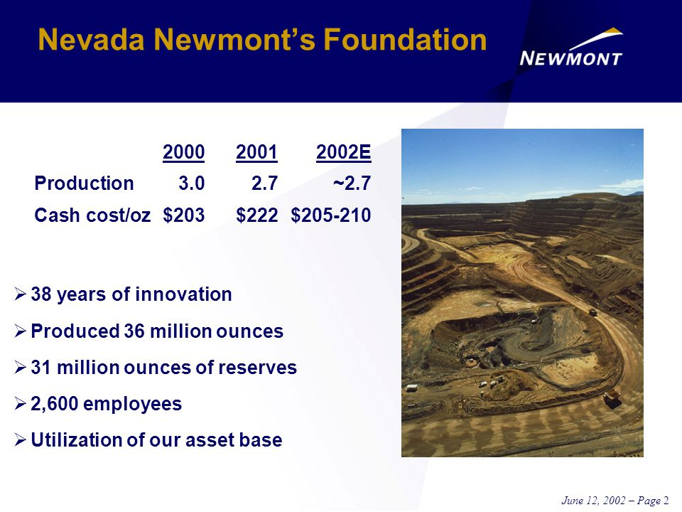 June 12, 2002 – Page 2 Nevada Newmont's Foundation  38 years of innovation  Produced 36 million ounces  31 million ounces of reserves  2,600 employees  Utilization of our asset base 200020012002E Production3.02.7 ~2.7 Cash cost/oz$203$222 $205-210