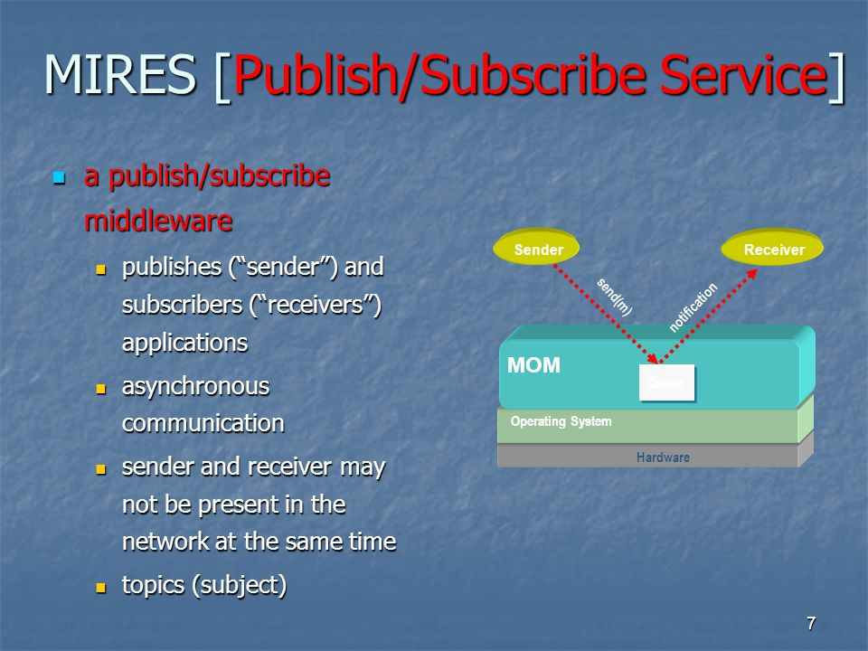 8 MIRES [Publish/Subscribe Service] allows the communication between middleware services allows the communication between middleware services responsible for advertises topics responsible for advertises topics maintains the list of topics subscribed by the node application maintains the list of topics subscribed by the node application publishes messages containing data related to the advertised topics publishes messages containing data related to the advertised topics SensorsCPURadio Operating System MIRES Routing Service 1 Aggregation Service N Service N Node Application Publish/subscribe service
