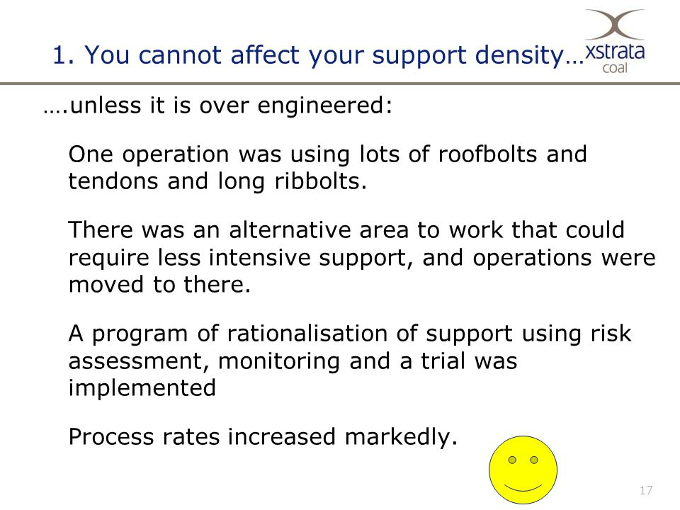 17 1. You cannot affect your support density… ….unless it is over engineered: One operation was using lots of roofbolts and tendons and long ribbolts.