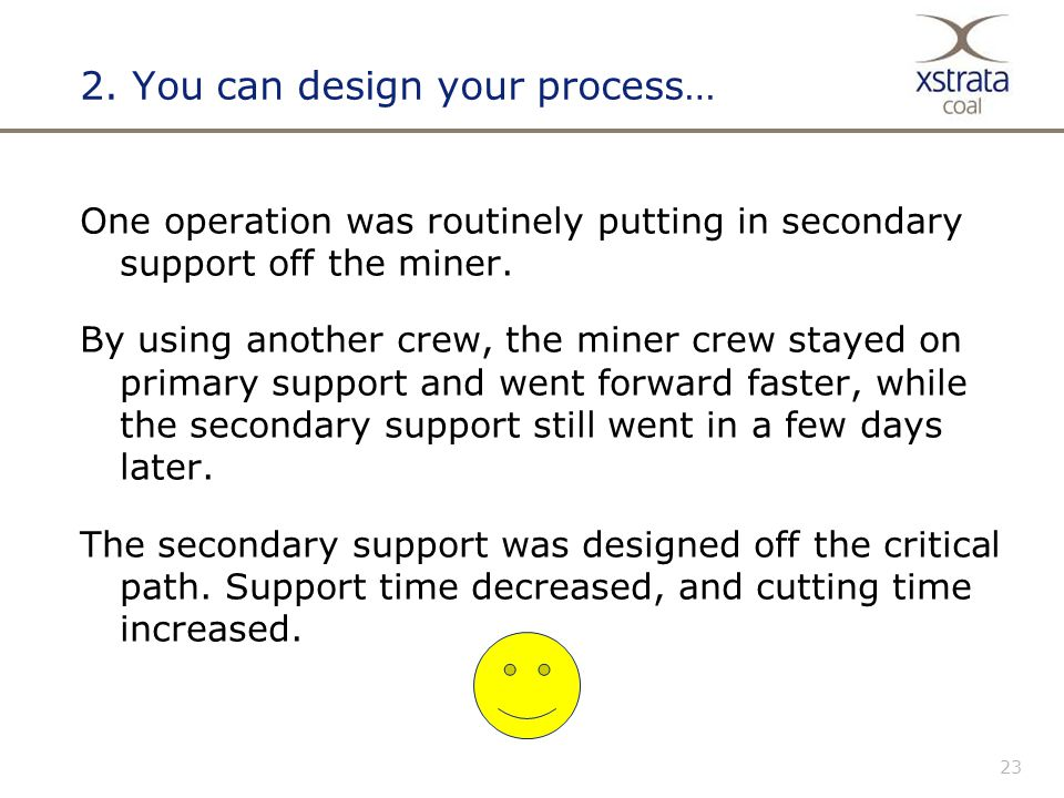 23 2. You can design your process… One operation was routinely putting in secondary support off the miner. By using another crew, the miner crew staye