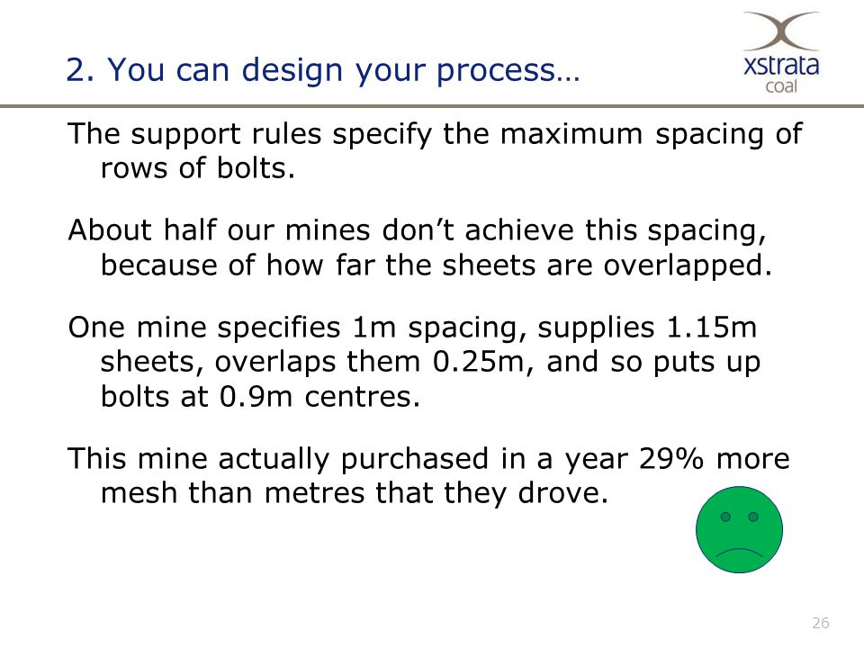 26 2.You can design your process… The support rules specify the maximum spacing of rows of bolts.