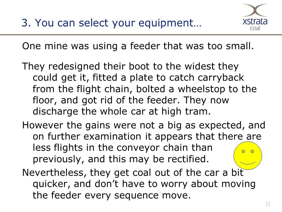 31 3.You can select your equipment… One mine was using a feeder that was too small.