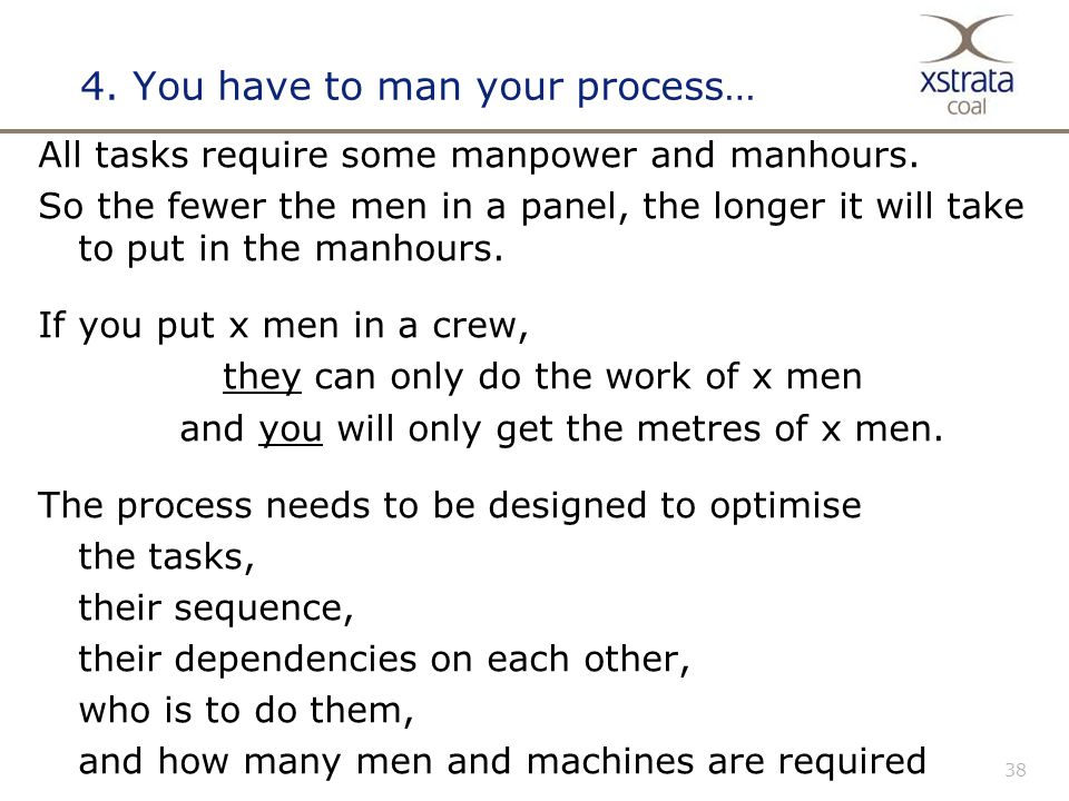 38 4. You have to man your process… All tasks require some manpower and manhours.