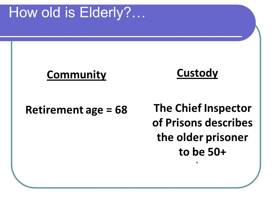 How old is Elderly?… Community Retirement age = 68 Custody The Chief Inspector of Prisons describes the older prisoner to be 50+ *