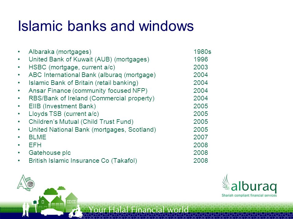 Islamic banks and windows Albaraka (mortgages)1980s United Bank of Kuwait (AUB) (mortgages)1996 HSBC (mortgage, current a/c)2003 ABC International Ban
