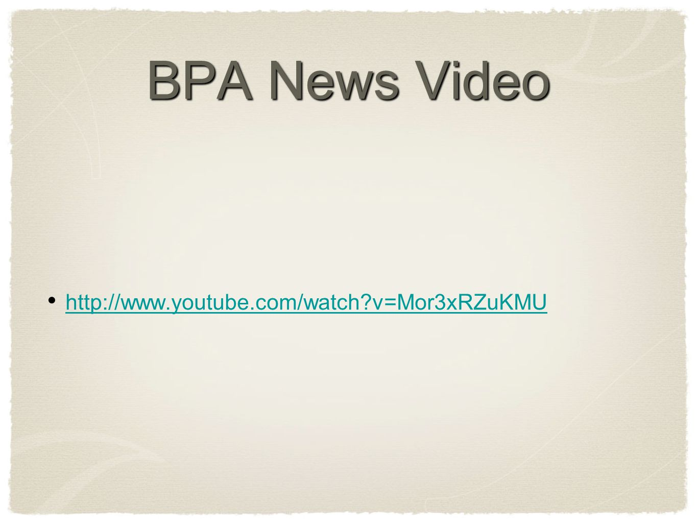 BPA Facts 2,2,-bis (4-hydrotphenyl) propane high productive chemical used in manufacture of numerous consumer goods and products a known endocrine disrupting chemical In 2004, 2.3 billion pounds produced in U.S 3/4 used in manufacture of polycarbonate resins for food and beverage storage Polycarbonate is recycling #7