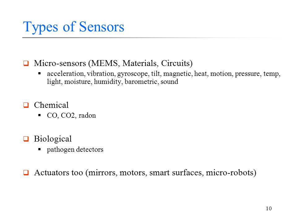 10 Types of Sensors  Micro-sensors (MEMS, Materials, Circuits)  acceleration, vibration, gyroscope, tilt, magnetic, heat, motion, pressure, temp, light, moisture, humidity, barometric, sound  Chemical  CO, CO2, radon  Biological  pathogen detectors  Actuators too (mirrors, motors, smart surfaces, micro-robots)