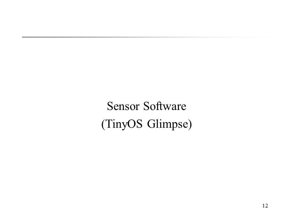 12 Sensor Software (TinyOS Glimpse)